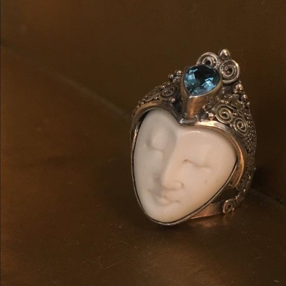 Jewelry Bali Carved Bone Ring With Blue Topaz 20 Carats Poshmark